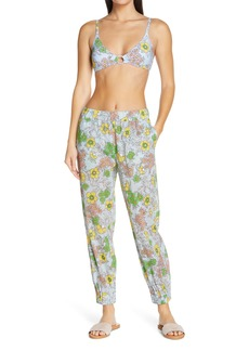 Tory Burch Floral Print Crop Cotton Pants