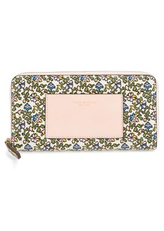 Tory Burch Floral Print Leather Zip Around Wallet