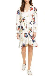 Tory Burch Floral Print Long Sleeve Silk Wrap Dress