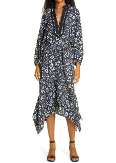 Tory Burch Floral Print Puff Long Sleeve Tunic Dress
