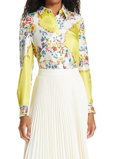 Tory Burch Floral Print Silk Blouse
