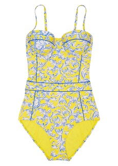 Tory Burch Floral Print Strapless Underwire One-Piece Swimsuit