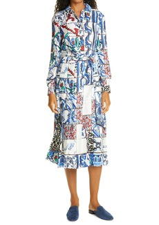 Tory Burch Floral Print Tie Neck Long Sleeve Dress