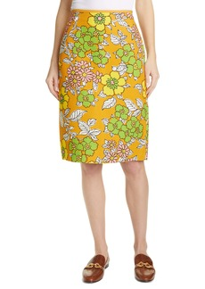 Tory Burch Floral Print Twill Pencil Skirt