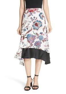 Tory Burch Floral Silk Midi Skirt
