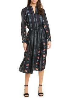 Tory Burch Floral Stripe Long Sleeve Silk Midi Dress