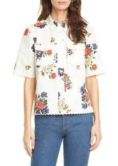 Tory Burch Floral Twill Safari Shirt