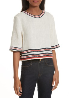 Tory Burch Florentina Embroidered Linen Top