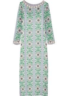 Tory Burch Garden Party beaded printed silk-chiffon maxi dress