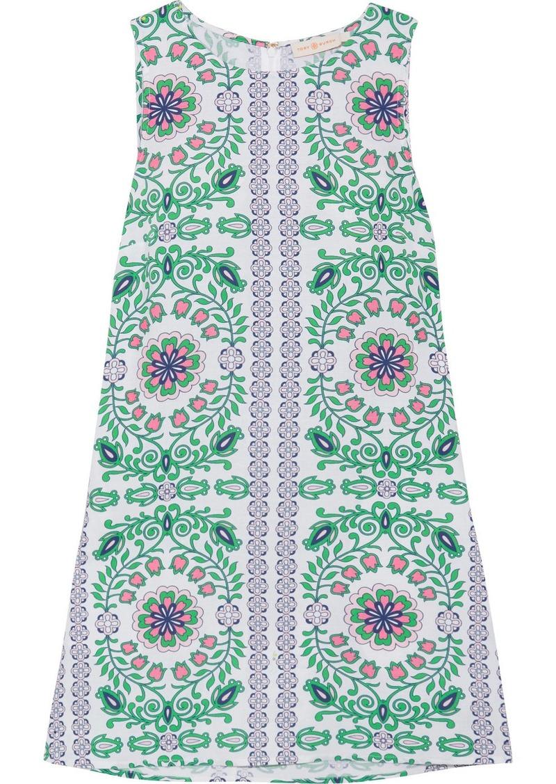 Tory Burch Tory Burch Garden Party printed linen-blend mini dress ...