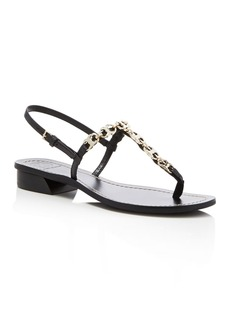 Tory Burch Gemini Link Embellished T-Strap Sandals