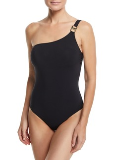 Tory Burch Gemini-Link One-Shoulder One-Piece Swimsuit