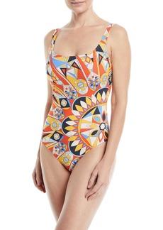 Tory Burch Geo-Print Scoop-Neck Tank One-Piece Swimsuit
