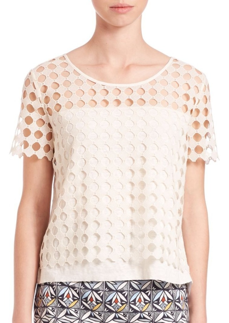 Tory Burch Geometric Lace Tee