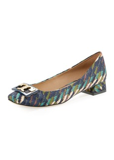 Tory Burch Gigi Printed Satin Low-Heel Pump
