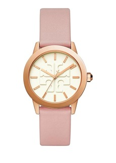Tory Burch Gigi Rose Goldtone and Leather-Strap Watch