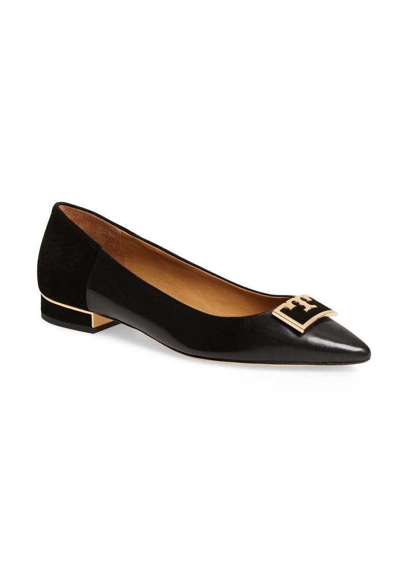 Tory Burch Gigi T Logo Pointy Toe Flat (Women)
