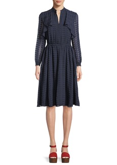 Tory Burch Grace Tiered Long-Sleeve Dress