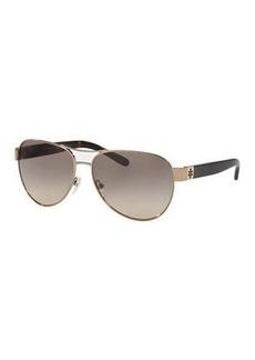 Tory Burch Gradient Contrast-Arm Aviator Sunglasses