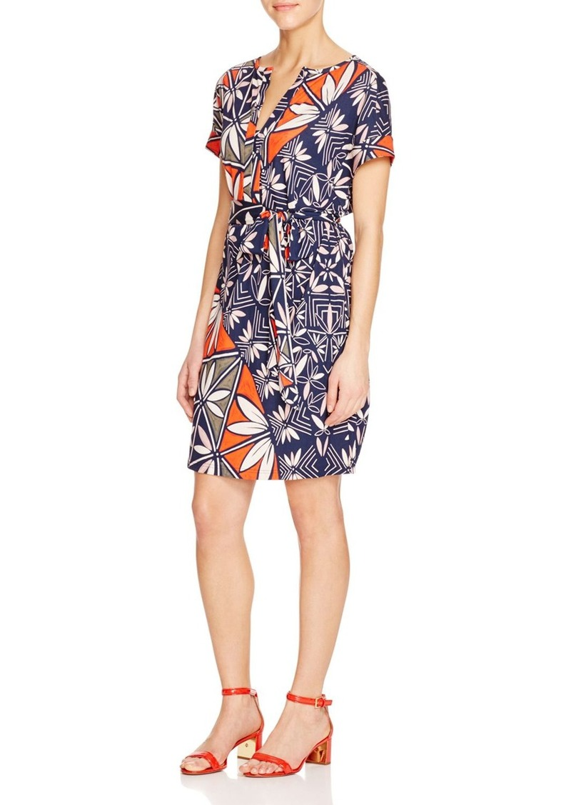 Tory Burch Graphic Floral Jersey Belted Dress