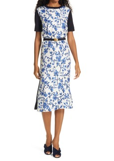 Tory Burch Greer Floral Print Silk & Wool Belted Dress