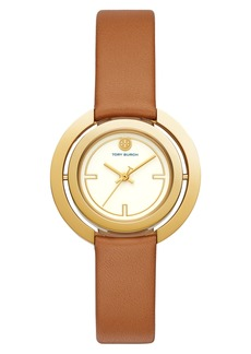 Tory Burch Grier Reversible Case Leather Strap Watch, 26mm