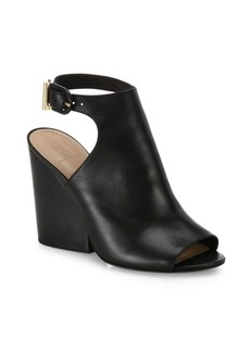Tory Burch Grove Open-Toe Leather Wedge Booties