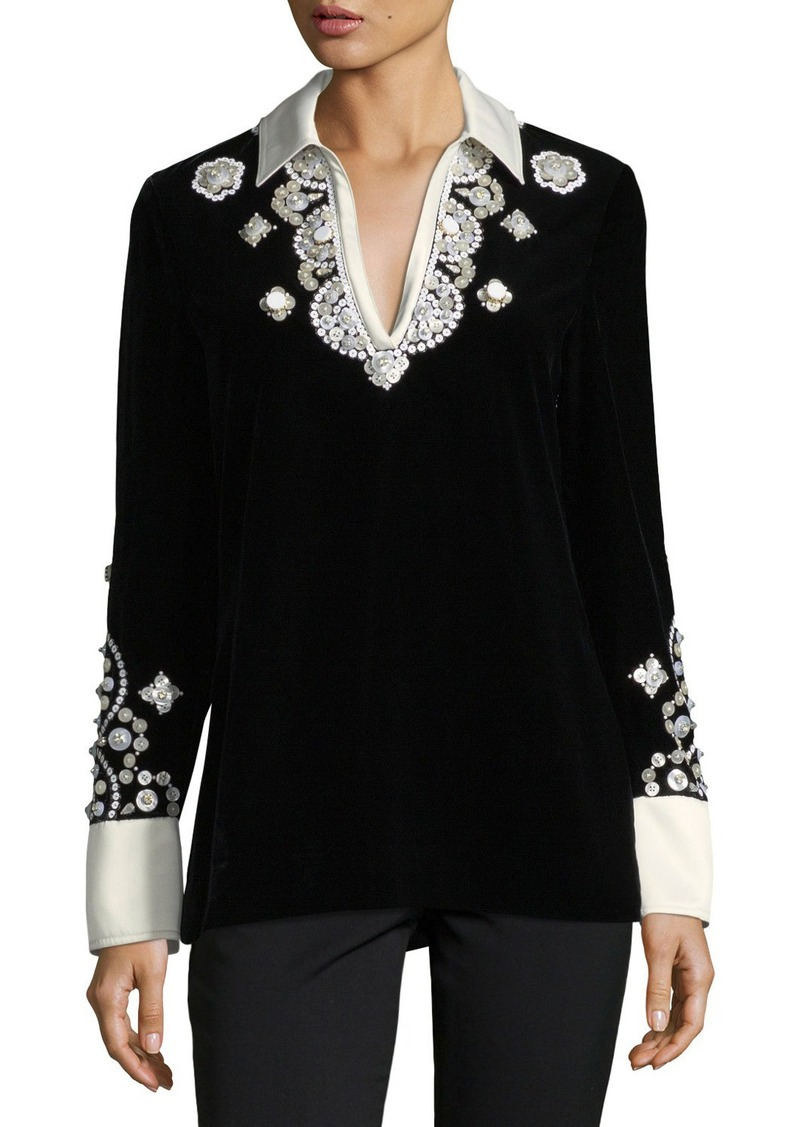 56421f5243a6 Tory Burch Tory Burch Hadley Plush-Velvet Embroidered Tunic | Casual ...