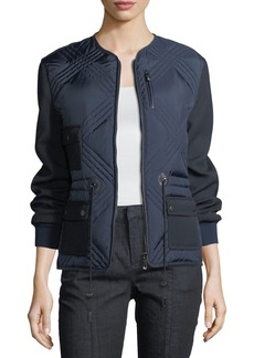 Tory Burch Hilary Quilted Tech Combo Bomber Jacket