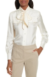 Tory Burch Holly Tie Neck Silk Blouse