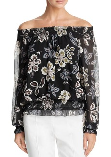 Tory Burch Indie Floral Silk Off-the-Shoulder Blouse