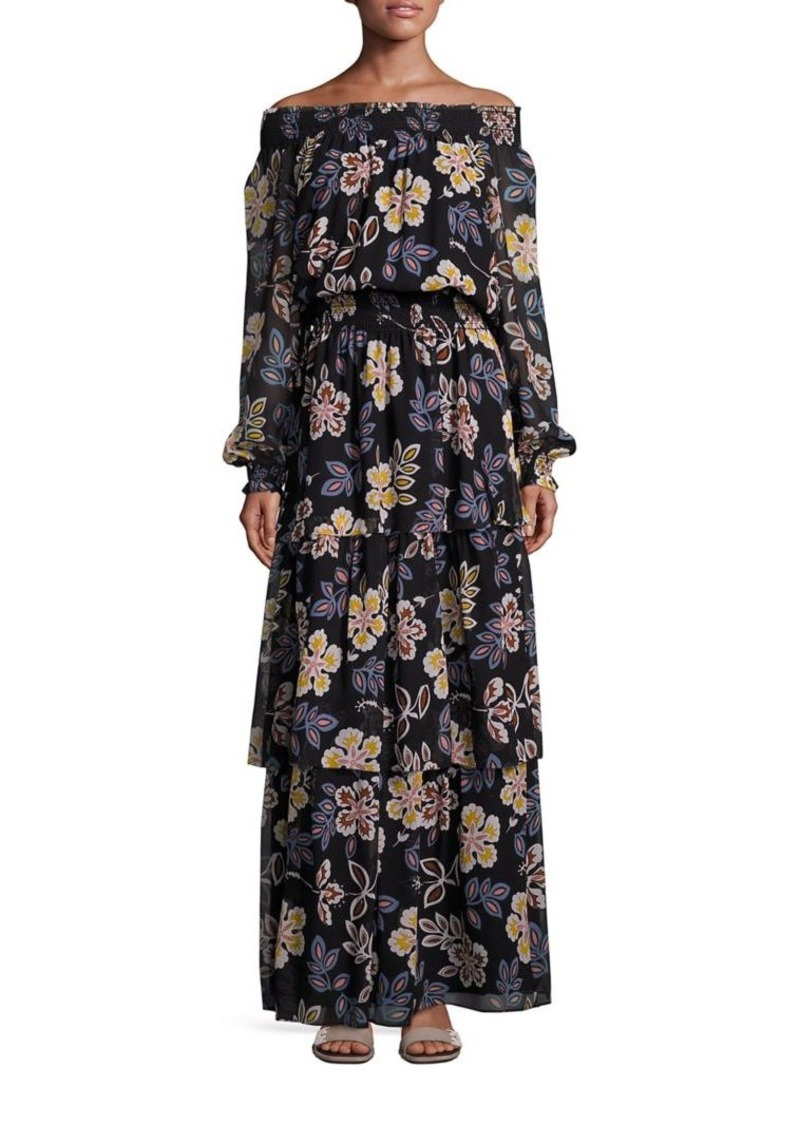 Tory Burch Indie Silk Off-The-Shoulder Maxi Dress