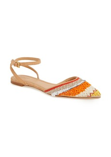 Tory Burch Isle Embellished Ankle Strap Flat (Women)