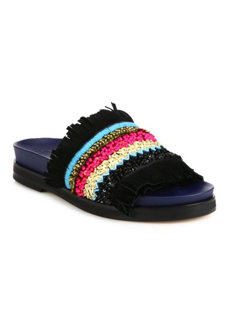 a01989fb24bd Tory Burch Isle Embellished Fringed Slides