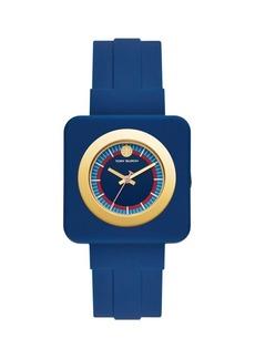 Tory Burch Izzie Rubber-Strap 3-Hand Watch