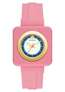 Tory Burch Izzie Square Silicone Strap Watch, 36mm
