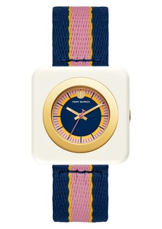 Tory Burch Izzie Square Textile Strap Watch, 36mm