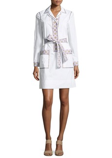 Tory Burch Jayne Long-Sleeve Embroidered Belted Tunic Dress