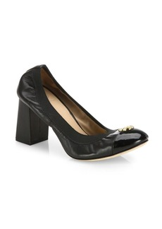 Tory Burch Jolie Cap Toe Leather Block-Heel Pumps