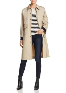 Tory Burch Joss Leather-Cuff A-Line Trench Coat