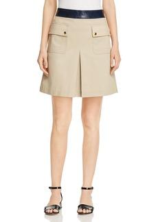 Tory Burch Joss Leather-Waist Utility Skirt