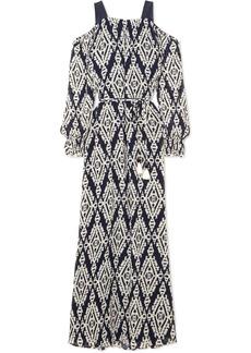 Tory Burch Katherine cold-shoulder printed plissé-chiffon maxi dress