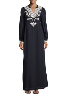 Tory Burch Keegan Embroidered Cotton Voile Caftan Dress