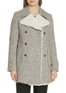 Tory Burch Kinsley Faux Shearling Tweed Coat