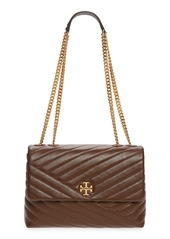 Tory Burch Kira Chevron Leather Crossbody Bag in Fudge /59 Rolled Brass at Nordstrom