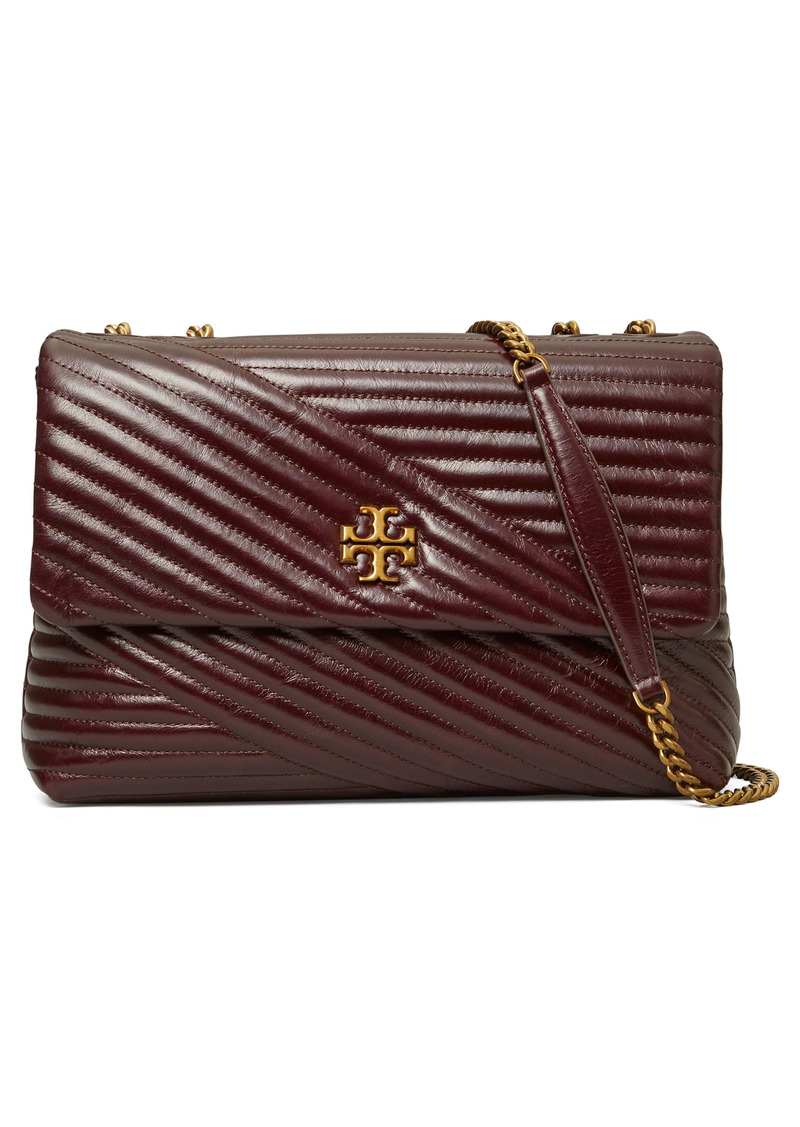 Tory Burch Kira Chevron Quilted Convertible Leather Crossbody Bag in Fig at Nordstrom