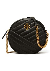 Tory Burch Kira Chevron Quilted Leather Circle Crossbody Bag in Fudge Rolled Brass at Nordstrom