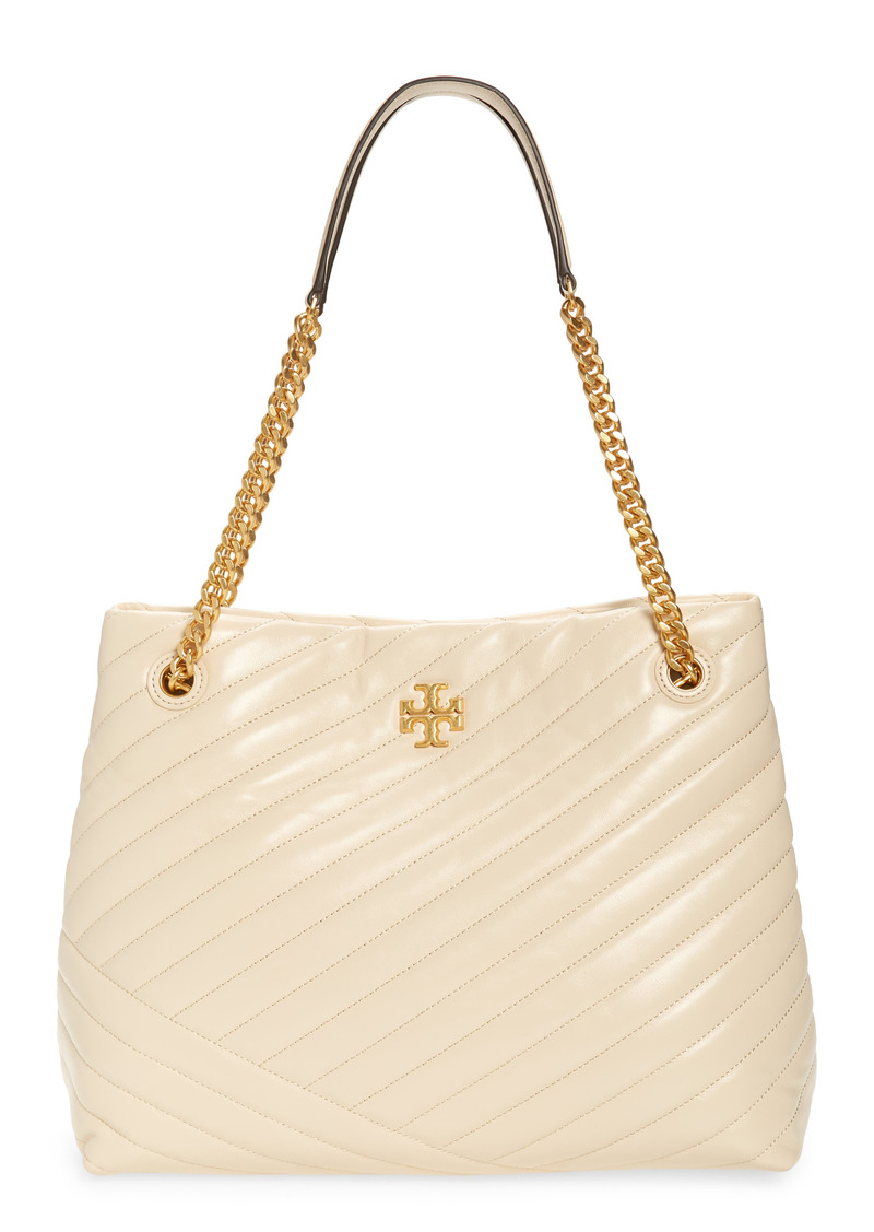 Tory Burch Kira Chevron Quilted Leather Tote in New Cream /59 Rolled Brass at Nordstrom