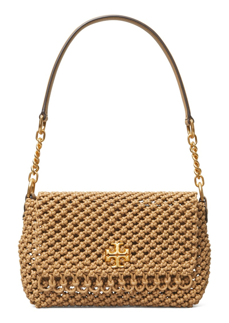 Tory Burch Kira Knotted Leather Shoulder Bag in Lion at Nordstrom