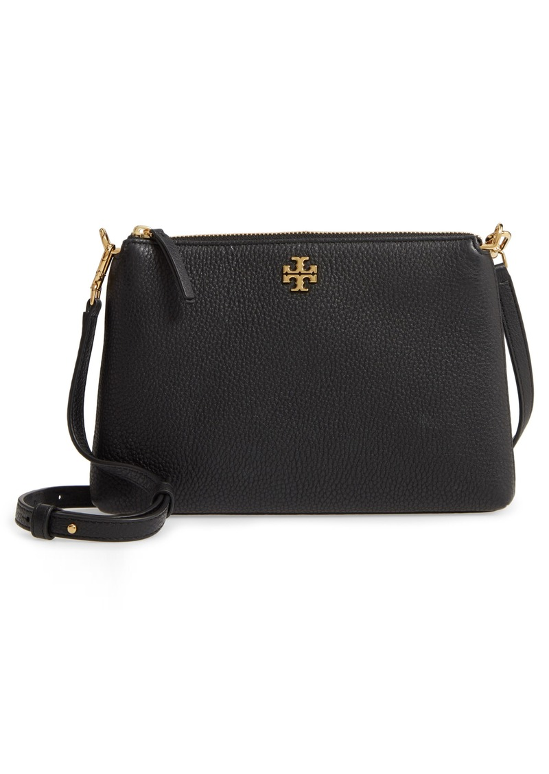 Tory Burch Kira Pebbled Leather Wallet Crossbody Bag in Black at Nordstrom